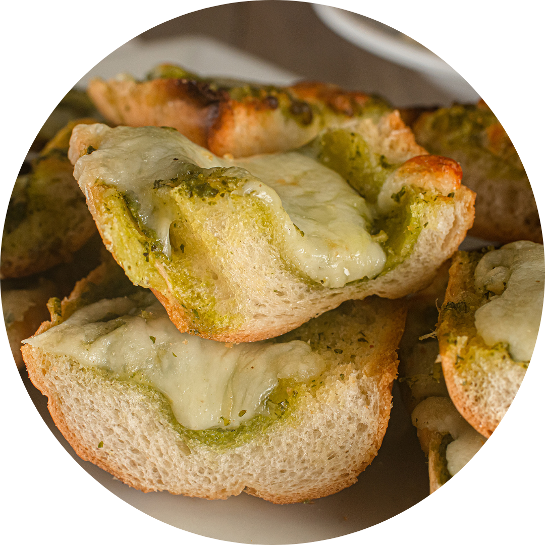 Garlic Bread With Pesto & Cheese